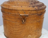 Antique French Tole Hat box complete with inner frame. Circa 1850s Judges Hat Box.