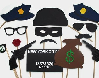 Cops & Robbers Photo Booth Prop Collection. Best Police Officer Photobooth Props. Wedding Party Props