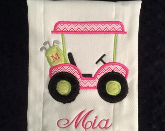 Pink and Green Golf Cart Burp Cloth