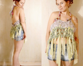 Woman top Pixie top Tattered top Crochet top Beach top Boho top Woman top Beach cover up Fairy top Summer top Festival clothing SALE