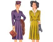 1940s Dress Pattern Simplicity 4518, V-Neck Day Dress, Gathered Bodice, Box Pleat Skirt, Simple to Make, Vintage Sewing Pattern Bust 34