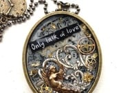 Large Steampunk Angel with Inspirational Message Resin Pendant