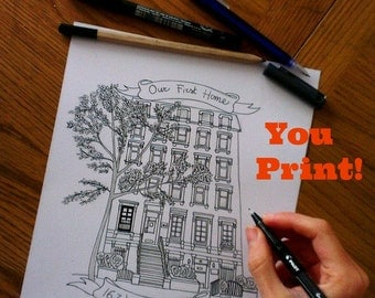 Custom PRINTABLE Pen and Ink House Portrait. Digital File Only.Ink Sketch of your House. Personalize Gift Idea.You print. Last-minute gift