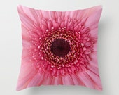 Pink Gerbera Daisy Photo Throw Pillow, Photo Pillow, Throw Pillow, Flower Pillow