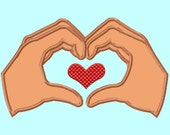 Heart Hands Applique Embroidery Designs 4 sizes INSTANT DOWNLOAD