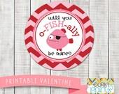 Valentine Printable Circle Tags - Fish Valentine PDF - Printable Valentine's Day