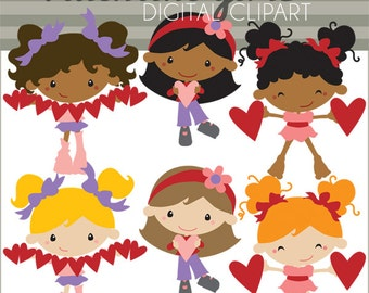 Valentine Clipart Girls with Hearts  -Personal and Limited Commercial Use- Cute Valentine Clip art