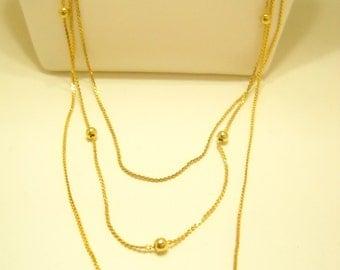 Vintage Gold Tone Triple Strand Graduating Chain Necklace (7808**)