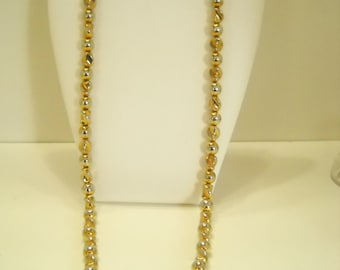 "Vintage Gold Colored 30"" Plastic Beaded Necklace (8964**)"