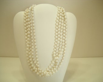 Vintage Five-Strand White Plastic Beaded Necklace (8956) Hong Kong