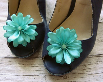 Bridal Shoe Clips, Flower Shoe Clips, Mint Bridesmaid, Mint Bridal Shower, Pearl Shoe Clips, Mint Fabric Flower