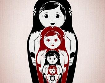 "Matrioska - Nesting Dolls Kids Print - Home Decor Nursery Poster 11x17"" or A3"