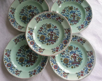 Set of 5 Adams Calyx Bread and Butter Plates in the Saraband Pattern, Wedgwood China