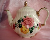 Teapot Sadler England Shabby Rose Tea Pot Vintage Cottage Chic 3-4 Cup