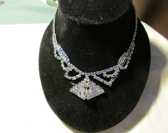 Blue Rhinestone Necklace, Unsigned, Layered, Baguettes and Round Rhinestones