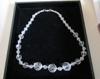 Crystal Beaded Necklace, Round Faceted Beads