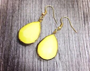 Lemon Yellow Drop Earrings - Teardrop Jewelry encircled with gold