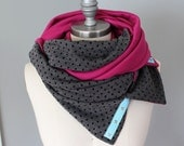 Infinity Scarf, Snap Scarf, Yoga Scarf, Dark Heather Gray and Magenta Infinity Scarf, Reversible Knit Scarf