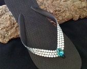 Rare Light Azore Rocks Swarovski Crystal Flip Flops Ice Blue on Havaianas or Cariris Wedge shoes