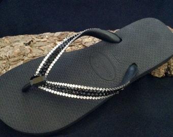 Custom Stripe Crystal flip flops Jewel Havaianas flat or Cariris Wedge heel High Society Glass Slipper w/ Swarovski Rhinestone Sandals Shoes