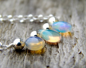 Sterling silver opal jewelry, Ethiopian opal jewelry, October birthstone jewelry opal, gift for wife, Ethiopian opal necklace