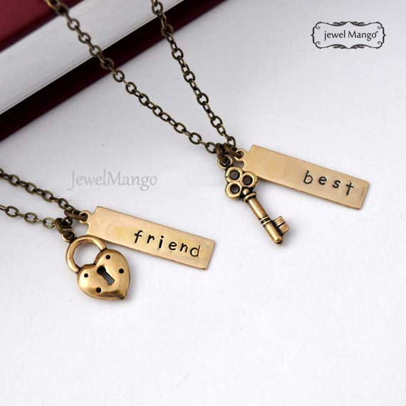 best friend necklace, friendship necklace, bff, key and lock necklace, gift for BFF, antique gold, birthday gifts for friends, heart
