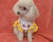 Dog Clothes, Puppy Dress in a Zoo Animal Motif with Yellow Butterfly Sleeves and Ruffle.