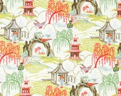 Contemporary Orange Toile Upholstery Fabric, Cotton Toile Fabric, Toile Curtains, Asian Fabric, Coral Neo Toile Fabric - By the Yard