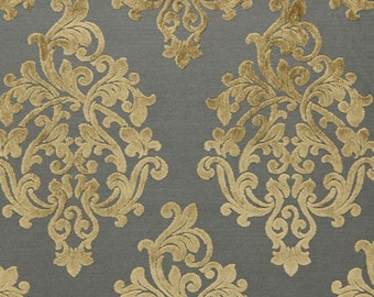 Grey Velvet Damask Upholstery Fabric - Large Scale Velvet Damask Pillow Fabric - Modern Taupe Medallion Drapery - Luxury Velvet Online
