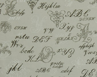 Upholstery Fabric with Text - French Script Fabric by the Yard - Printed Cotton Upholstery Yardage - Taupe Fabric - Modern Throw Pillows