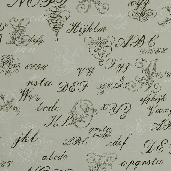 upholstery fabric with text french script fabric by the