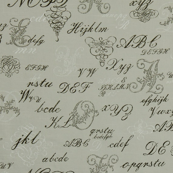 Upholstery Fabric With Text French Script Fabric By The Yard
