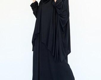 NO.158 Black Cotton-Blend Jersey Slouchy Pattern Top & Dress