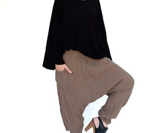 NO.162 Brown Double Gauze Cotton Unisex Harem Pants, Dropped Crotch Trousers