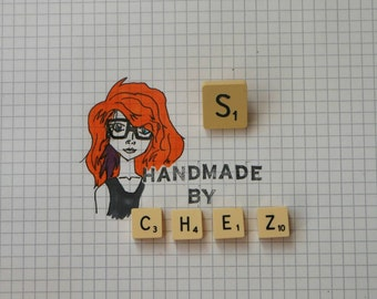 S Scrabble Tile Pin