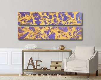 Large Abstract Painting / 2 set of paintings  (48 Inches x 11.5 Inches) / ORIGINAL Painting /  Yellow, Orange, purple
