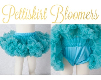 Pettiskirt Bloomer - Aqua - Newborn Pettiskirt Bloomers Baby Aqua teal turquoise all in one bloomer attached to petti skirt