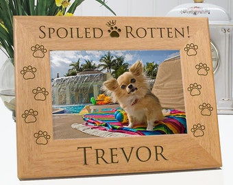 Dog Frame - Spoiled Rotten Picture Frame - Personalized With Name