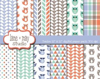 digital scrapbook papers - orange, mint green, lavender and brown woodland creature patterns - INSTANT DOWNLOAD