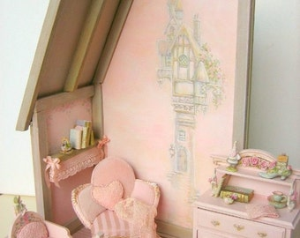 For Linda - Pink Cottage Castle - Custom mural - painted thin birch wood A4 sheets - Jill Dianne - Dollhouse Miniatures