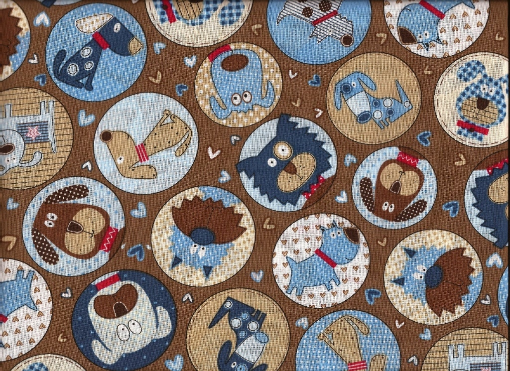 Cotton fabric dog print fabric by the yard quilt fabric for Cotton fabric by the yard