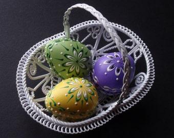 Easter Eggs, Set of 3 Quail  Easter Eggs,  Pysanky , Polish Pisanki