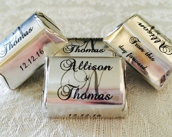 300 SILVER FOIL Personalized Monogram Wedding Candy wrappers/stickers/labels that fit your Hershey Nuggets for any party/event! GREAT Favors