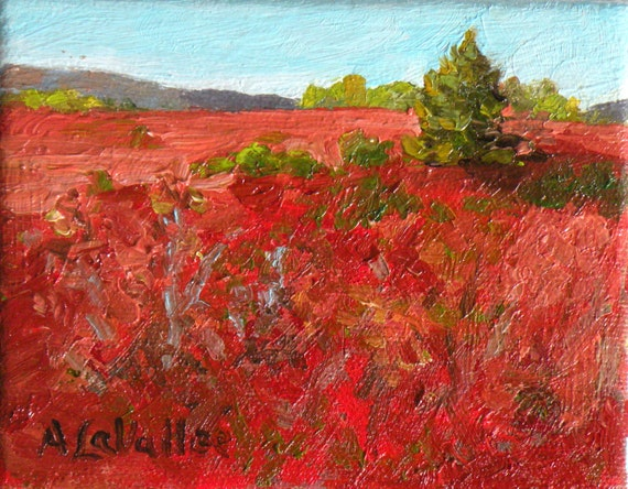 "STUDIO EVENT! Maine Blueberry Barrens, small, expressive, oil painting. Autumn  4""X5""  canvas, RED landscape by Adrienne Kernan La Vallee"