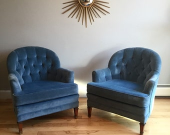 SOLD - Pick up on 4/15-Pair of Velvet Tufted Chairs - Hollywood Regency