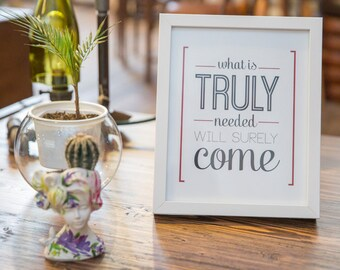"""Art Print Poster """"Truly"""" Typography Motivation Home Decor Wall Decor Wall Hanging Decorative Arts Framed Inspirational Art By [LOVE TO BE]"""