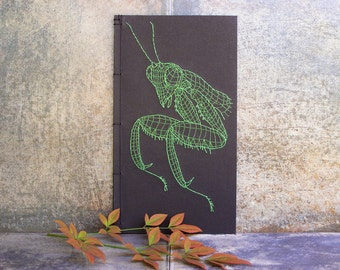 Praying Mantis Journal. Embroidered Notebook. Stitched Black Journal. 3D Graphic Design Journal. Science Art Book. Men's Journal