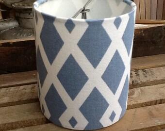 Drum chandelier lampshades silver blue and white Graphic Fret Robert Allen