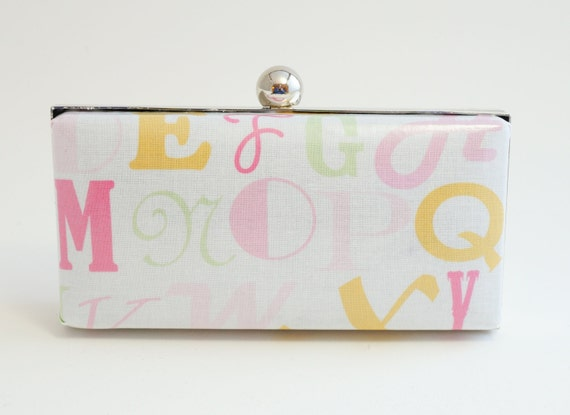 Ivory Alphabet Letters Minaudière Box Clutch Purse - Spring/Summer Handbag - Includes Crossbody Chain - Ready to Ship
