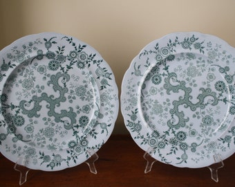 Pair of green Staffordshire transferware Flosculous Plates by William Ridgway and Company